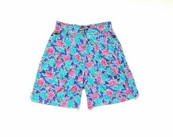 Vintage Womens 10 Medium Now Sport High Waisted Floral Print Shorts Classic 80s 90s Style Summer Beach Boho Hippie Street Style Fashion