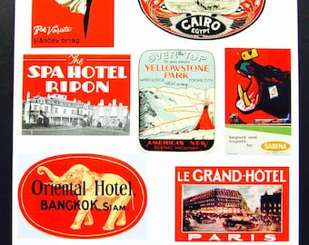 Vintage Luggage Label Images Paper, on Card Stock 8.5 X 11 Sheet R-2. NOT Digital