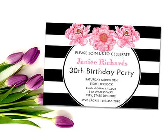 Stripes and Floral Birthday Invitation, Printable Black and White Custom Party Invites, Your Event - Bridal or Baby Shower - Sweet Sixteen