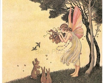 Hand-cut wooden jigsaw puzzle. FAIRY and BUNNY. Outhwaite. Fairytale gift. Wood, collectible. Bella Puzzles.