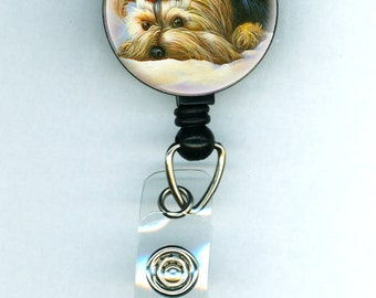Yorkshire Terrier Playing Peek a Boo Painting Retractable ID Badge Holder Reel Clip