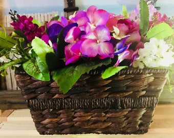 Floral Arrangement of Purple Hydrangeas/Coordinating Purple Flowers/Woven Dark Brown Basket/Home Decor/Mother's Day Gift