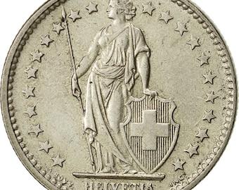 switzerland 2 francs 1967 bern ef(40-45) silver km21