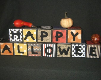 "2 inch - ""HAPPY HALLOWEEN"" LETTER BLoCKS - Hand Painted"