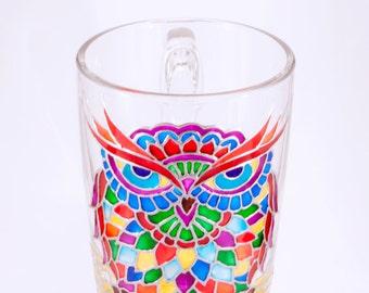 Personalized Owl Mug, Funny Mugs, Rainbow Psychedelic Mug, Forest Owl Decor Personalized Mug, Owl Gifts Custom Mug, Owl Glass Mug Owl Decor