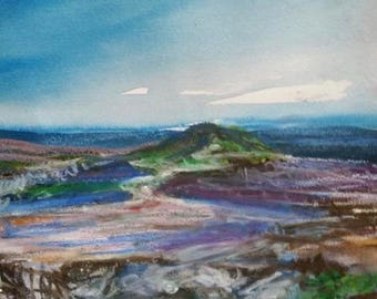 Top landscape pastel watercolor ink