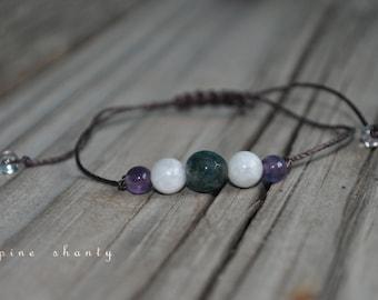 Moss Agate, Moonstone, Amethyst Meditation Bracelet, Good Luck Healing, Minimalist Jewelry, Hypoallergenic, Yoga Bracelet, Fertility