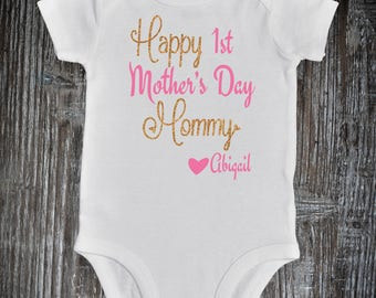 Happy First Mother's Day Onesie, First Mother's Day Baby Outfit, Mothers Day gift from Baby Girl, 1st Mother's Day,  First Mother's Day Gift