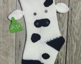 Cow Stocking- Custom Made- Crochet Stocking- Farm Decor- Farmhouse Christmas- Cow with Ear Tag- Christmas Stocking- Custom Stocking-Cow Love