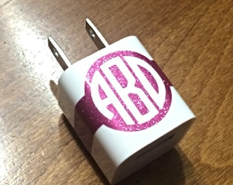 Custom Charger Decal- Personalized Monogram Block Sticker