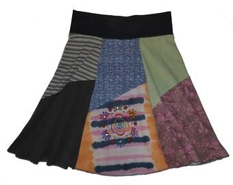 Boho Hippie Skirt Women's Medium Large Size 8 10 12 t shirt skirt upcycled recycled best selling item twinkle skirts twinklewear