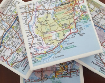 Drink Coasters...FL...N FL, Includes Tallahassee, Pensacola...Full Cork Bottoms...Set of 4... Great Gift