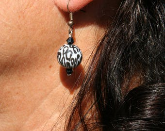 Black and white leopard earrings