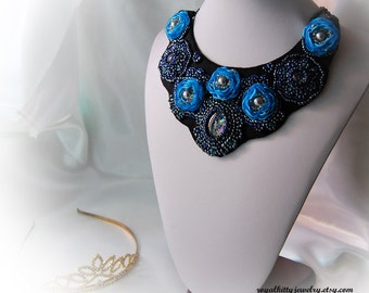 Blue necklace, Blue Fantasy, beaded necklace,  embroidered statement necklace, organza necklace, Blue necklace, Unique jewelry, gift for her
