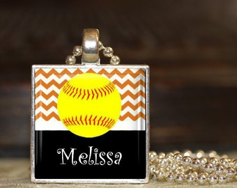 1 Personalized Orange Chevron Softball Pendant Necklace 15 Color Choices team softball team gifts varsity jv high school middle school