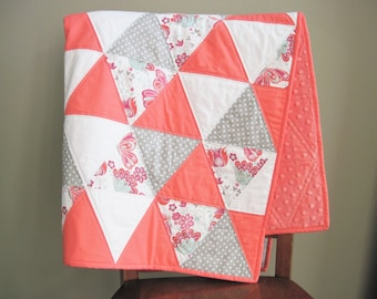 Coral Triangle Baby Quilt, Coral and Gray Baby Blanket, Baby Girl Quilt, Coral Baby Blanket