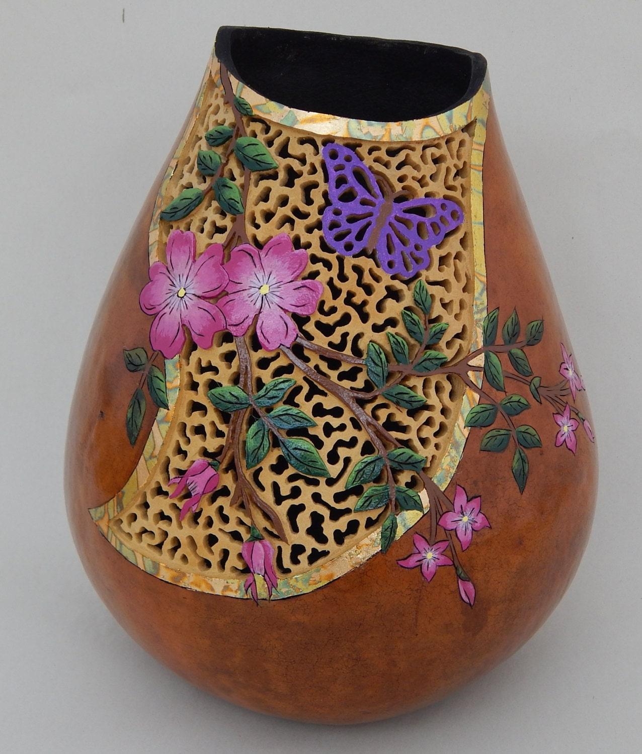 Carved gourds gourd art gifts for the gardener unique