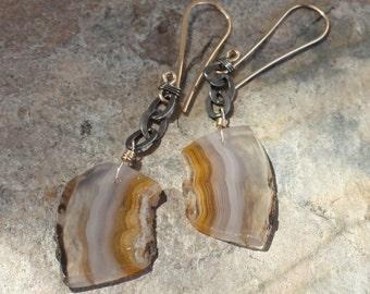AGATE earrings, Persian Gulf Agate earrings, silver and 14k gold earrings, mixed metals, handmade artisan jewelry