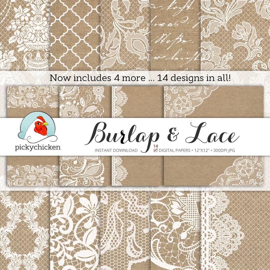 Burlap Wedding Paper Lace Digital Rustic