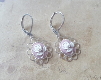 Roses gems earrings ~ silver ~