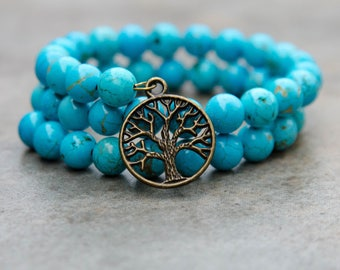 Natural Turquoise Round Gemstone Bracelet With Tree of Life Charm