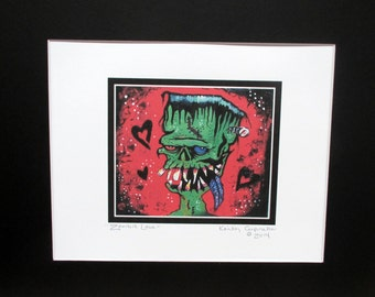 Hurricane relief~Zombie Love~ Digital Copy of Horror Painting~Matted~Ready to Frame