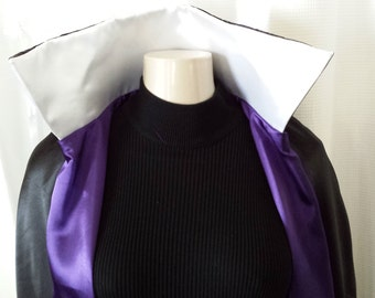 Evil Queen, Royalty Cape Black satin with Purple Satin Lining, Purple OR White faced Collar- one size-reversible