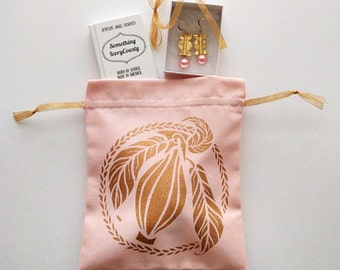 Baby Pink and Copper Cacao Drawstring Bag