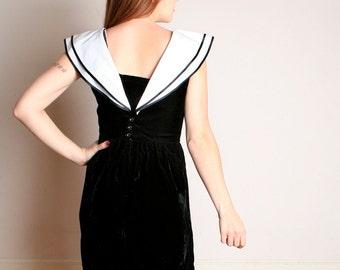 Vintage Velvet Mini Dress - Black Sailor Lanz Dress - Tuxedo Dress - Small Medium