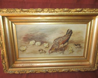 Vintage Hen and Chicks Painting