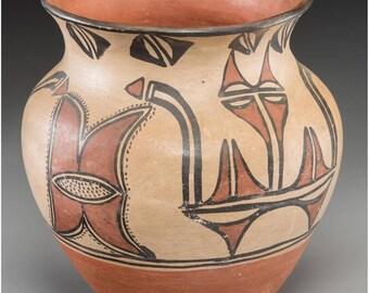 Historic Native American San Ildefonso Poly Chrome Jar Ca. 1910, #1127