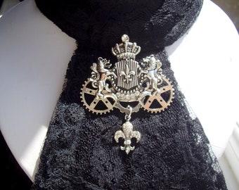 Gothic Steampunk Silver Coloured Lion Crown Gear Cogs Fleur De Lis Brooch Badge Cravat Jabot Tie Pin