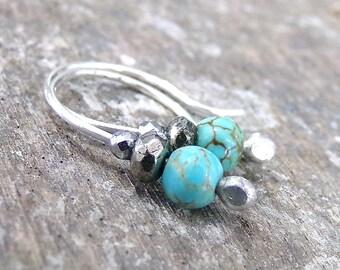 Turquoise Earrings, Small Blue Earrings, Sterling Silver Earrings, Petite Earrings, Turquoise Ear Climber Earrings Ear Crawler - Little Blue