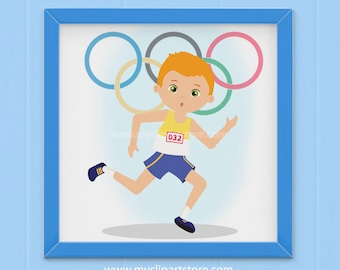 Clipart - Summer Olympics Clipart / Relay / Olympic Games / Running (Single Clipart Image) - Digital Clip Art (Instant Download)