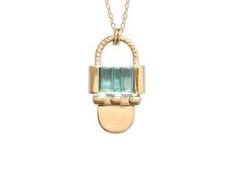 Art Deco Pendant Necklace / 1920s Vintage Aquamarine Glass / sculptural jewelry / 14k gold vermeil or sterling silver / MADE TO ORDER