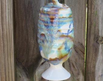 Stoneware Pottery Hummingbird Feeder in Tri-color glaze Wheel thrown handmade