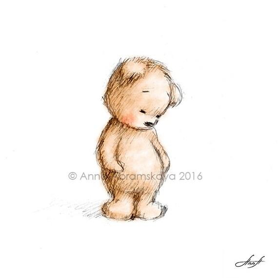 Sad Teddy Bear Printable Art Nursery Decor Kids Room