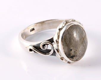 Labradorite 92.5 sterling silver ring size 7 us