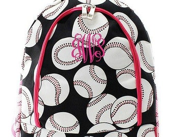 Monogrammed Backpack Personalized Baseball Pink Backpack Personalized Backpack Kids Backpack Girls Backpack Boys Backpack