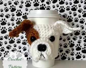 Bulldog Puppy Crochet Pattern, Mug Cozy Pattern, Bulldog Pattern, Crochet Pattern Dog, Crochet Dog, Dog Cozies, Quick Crochet, Fun Crochet