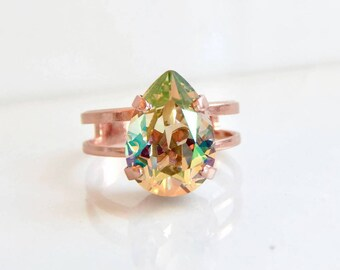 Iridescent pear rose gold ring - crystal ring - statement ring - Swarovski crystal - rainbow crystal