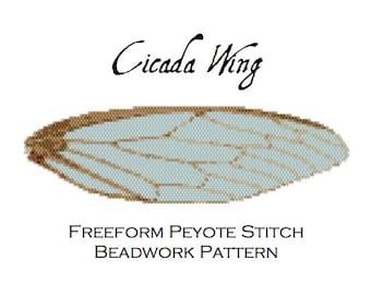 Cicada Wing Freeform Peyote Stitch Pattern - Cuff Bracelet - Bookmark