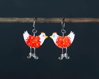 Funny Chicken Earrings , Whimsical Jewelry, Funny Jewelry, Quirky Earrings, Quirky Jewelry, Animal Earrings, Animal Jewelry, Funny Earrings