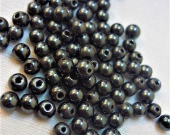 Set of 10 black 4mm hematite round beads