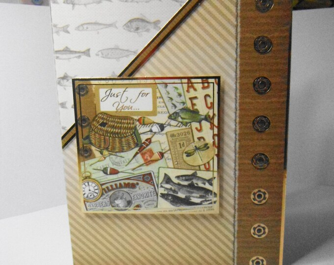 Male Birthday Card, Greeting Card, Fishing Gear, Rods Fish and Nets, Dad, Son, Uncle,Brother, Nephew