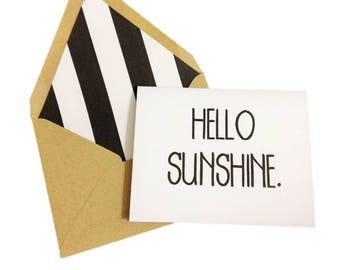 Hello Sunshine Card // Hello Card // Thinking of You Card // Love Card // Friendship Card // Just Because Card // Blank Greeting Card