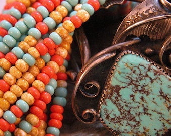 Colors of the Southwest size 6 BEADS 50 grams Turquoise Coral