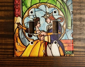 Beauty And The Beast Light Switch Covers - Various Styles | Stained Glass - Disney Princess - Belle And Beast - Wall Art - Princess Decor