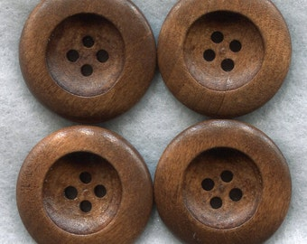 Rusty Brown Wood Buttons Decorated Wooden Buttons 23mm (1 inch) Set of 8 /BT202