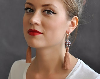 "Tassel earrings ""Kaleidoscope"", long tassel earrings, beaded tassel earrings, long earrings, beaded long earrings, beadwork earrings"